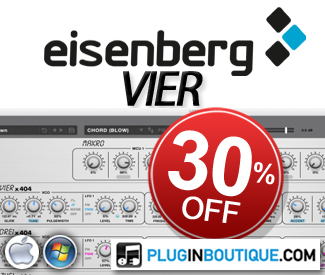 Discover Eisenberg's new four unit software synthesizer & save 30% off in this special introductory sale until the end of September.